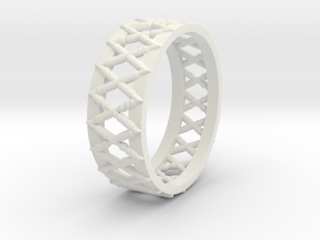 Knitted Ring-15 mm in White Natural Versatile Plastic