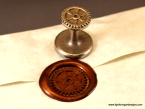 Gear Wax Seal in Polished Bronzed Silver Steel