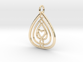 Mama's Milk Drop Pendant; Circle and Heart in 14k Gold Plated Brass