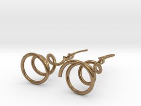 Earrings Twist 001 in Natural Brass (Interlocking Parts)