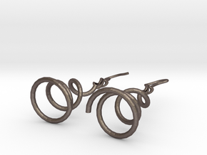 Earrings Twist 001 in Polished Bronzed Silver Steel
