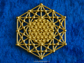 Merkaba Kabbala Grid in Polished Gold Steel
