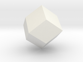 Rhombic dodecahedron, 25 mm in White Natural Versatile Plastic