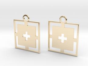 square cross earrings in 14k Gold Plated Brass