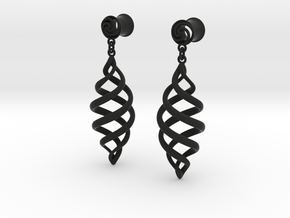 Spiral With Drop 0g in Black Natural Versatile Plastic