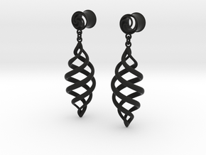Archemedes Spiral plugs With Drop 00g in Black Strong & Flexible