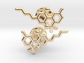 THC molecular cufflinks in 14k Gold Plated Brass