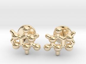 caffeine molecule cufflinks in 14k Gold Plated Brass