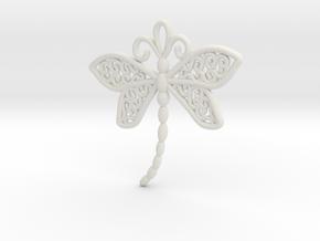 Dragonfly Earrings or pendant in White Premium Versatile Plastic
