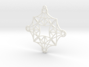 DoodleFan Earring or Pendant (Square) in White Processed Versatile Plastic