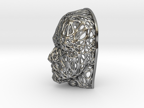 Male Voronoi Face (002) in Fine Detail Polished Silver