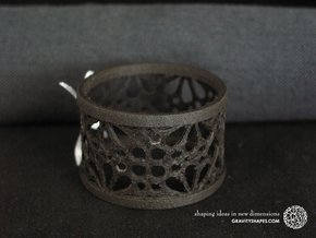 A large napkin ring with Mosaic-3a in Black Natural Versatile Plastic