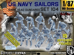 1-87 USN Dungaree Barehead Set104 in Smooth Fine Detail Plastic