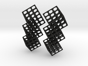 Triple Matrix Earrings in Black Premium Versatile Plastic