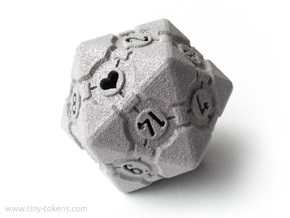 Companion Cube D20 - Portal Dice in Polished Metallic Plastic: Small