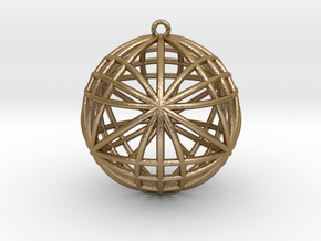 """Awesomeness Sphere Pendant 2""""  in Polished Gold Steel"""