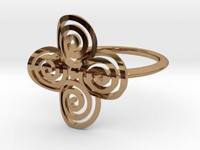 """Celtic """"life and death"""" quadruple spiral ring in Polished Brass"""