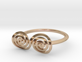 "Celtic ""life and death"" turned spiral ring in 14k Rose Gold Plated Brass"