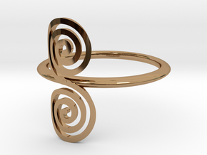"""Celtic """"life and death"""" small spiral ring in Polished Brass"""