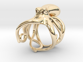 Octopus Ring 17mm in 14K Yellow Gold