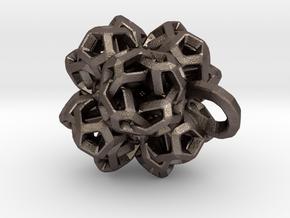 Pendant flower 2 in Polished Bronzed Silver Steel