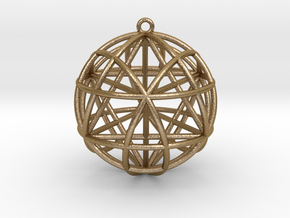 "Star Tetrasphere w/nested Star Tetrahedron 1.7"" in Polished Gold Steel"