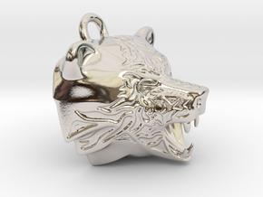 Fire Bear Pendant in Rhodium Plated Brass