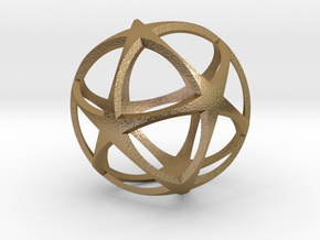 0718 Star Ball (Icosohedron with Stars) 5.0cm #002 in Polished Gold Steel