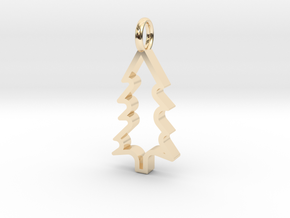 Christmas Tree - Pendant in 14k Gold Plated Brass