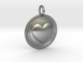 NewCompassionHeart in Natural Silver