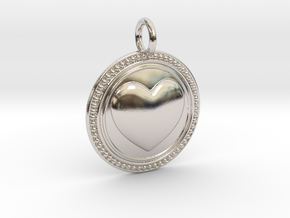NewCompassionHeart in Rhodium Plated Brass