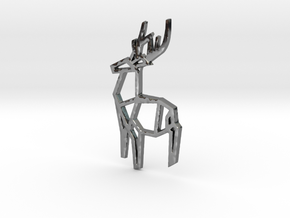 Origami Stag Pendant in Fine Detail Polished Silver: Small