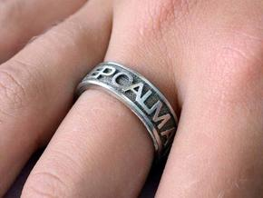 """Size 8 Steel Ring """"KEEP CALM & CARRY ON"""" in Polished Bronzed Silver Steel"""