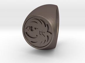 Custom Signet Ring 70 in Polished Bronzed Silver Steel