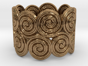 The celtic water-spiral endless ring in Natural Brass