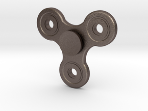 No spin Fidget spinner in Polished Bronzed Silver Steel