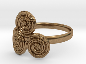 Bronze age triple spiral cult ring in Natural Brass