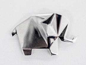 Origami Elephant  in Fine Detail Polished Silver