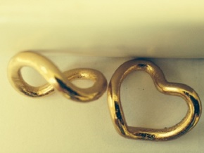 Infinity Heart  in Polished Gold Steel