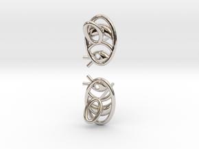 Bee Earrings V2.1 in Rhodium Plated Brass