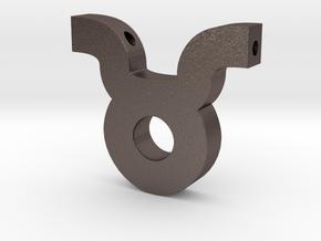 Taurus Symbol Pendant in Polished Bronzed Silver Steel
