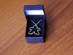 Big empty meeple [pendant] in Polished Silver
