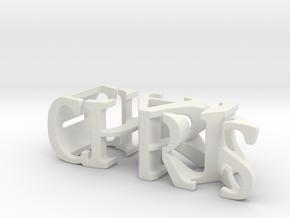 3dWordFlip: CHRIS/DAY in White Natural Versatile Plastic