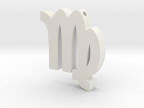 Virgo Symbol Pendant in White Natural Versatile Plastic