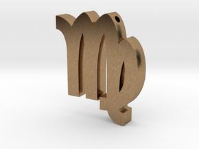 Virgo Symbol Pendant in Natural Brass