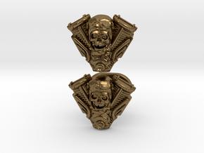 Skull engine cufflinks in Natural Bronze