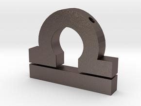 Libra Symbol Pendant in Polished Bronzed Silver Steel