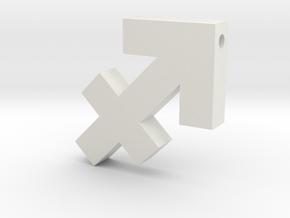 Sagittarius Symbol Pendant in White Natural Versatile Plastic