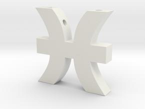 Pisces Symbol Pendant in White Natural Versatile Plastic