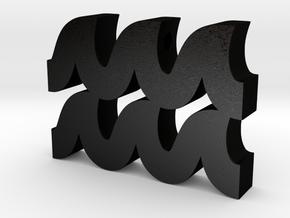 Aquarius Symbol Pendant in Matte Black Steel